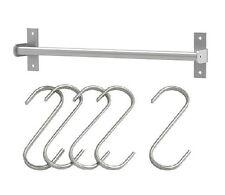 """IKEA rail 23"""" + 5 hooks pot pan lid utensil rack caddy holder hanger Grundtal"""