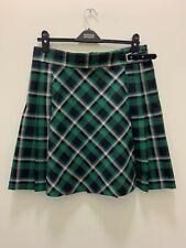 M&S Collection Long Green Mix Tartan Kilt Style Short Pleated Skirt Size 14