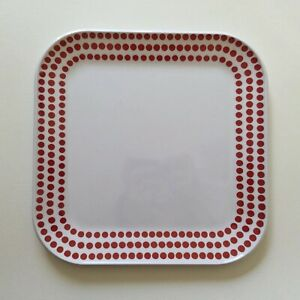 Room Essentials White Plastic Plate With Red Dots Pattern