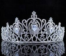 CZ Stone & Clear Austrain Crystal Rhinestone Tiara Hair Combs Crown Bridal T804