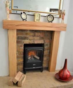Oak Beam Fire Surround Wooden Fireplace Mantelpiece Upstands LIGHTLY WORKED