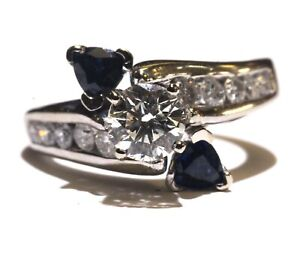 GIA certified 14k white gold 1.31ct engagement diamond sapphire ring 6.4g 6.5