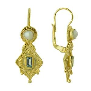 Indus Blue Topaz and Pearl Earrings: Museum of Jewelry