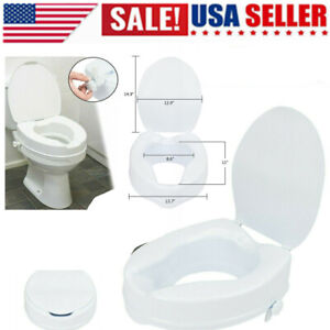 Raised Portable Toilet Seat Elevated White Safety With Lid Medical Riser 4''inch