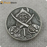 Hobo Nickel COINS 1936 Engraved coins skull Zombie with the girl FREE SHIPPING