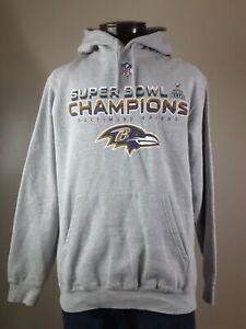 Baltimore Ravens Super Bowl XLVII Hoodie Sweatshirt Size M Gray Front Pockets