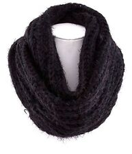 B20 Eternity Chunky Knit Super Soft Furry Black Infinity Scarf Boutique
