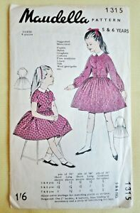 """Vintage 1950s Maudella Sewing Pattern 1315. Girl's/Child's Party Dress 26"""" Chest"""