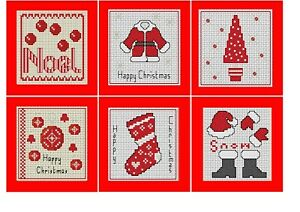 Daisy Hill Designs Cross stitch Christmas Card Kit, Make 6 Red Christmas cards