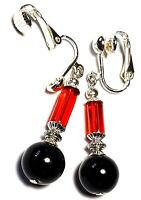 Long Red Black Clip On Earrings Glass Beads Antique Vintage Tibetan Style