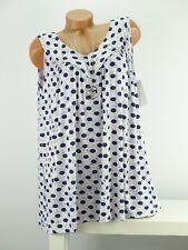 Shirt mit Kette Top Tunika Lagenlook Größe 46 - 52 one size weiß blau  Punkte  w