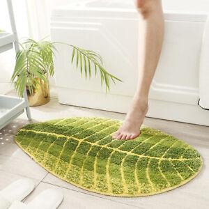 Leaf Shape Green Cotton Non Slip Bath Rugs Mats Doormats for Bathroom Kitchen