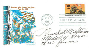 Hershel Woody WILLIAMS Medal of Honour Iwo Jima Signed Autograph FDC AFTAL COA