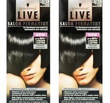 2 x SCHWARZKOPF LIVE SALON PERMANENT HAIR COLOUR 1-1 BLUE BLACK 100% Brand New