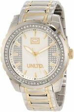MARC ECKO SILVER+GOLD 2 TONE ,THE RIFF CLASSIC,S/STEEL,CRYSTAL WATCH-E14511G1