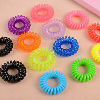 50 x Stretchy Spiral Hair Bands Plastic Ponytail Elastic Bobbles NEW