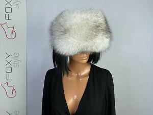 Blue fox fur eye band double side fur