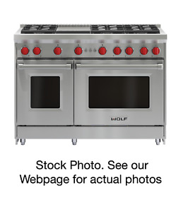"""Wolf 48"""" Stainless Steel Gas Range with Infrared Griddle Model # GR486G"""