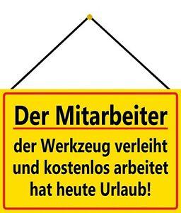 Mitarbeiter Werkstatt Blechschild Schild mit Kordel Tin Sign 20 x 30 cm FA0593-K