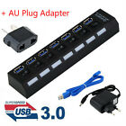 4/7Ports USB 3.0 Hub with On/Off Switch+AU AC Power Adapter for PC Laptop Lot GO