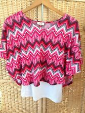 LEI 2 In 1 Pink & White Metallic Dots Spots Top XL XL 14 16 Cami Built In Cape