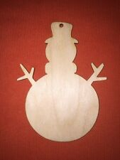 10 x SNOWMAN n3 medium WOODEN BLANKS SHAPE PLAIN HANGING CHRISTMAS CRAFT TAG