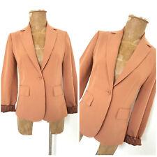 Beige Single Button Blazer Size Small Suit Coat Womens Jacket Business Career
