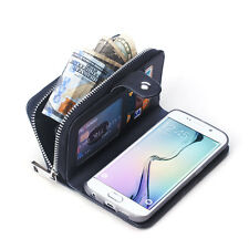 Luxury Leather Purse Wallet Card Case Cover with Zip Up Zipper for Galaxy S8 + 7