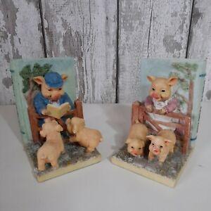 Vintage Piggies Story time Ceramic Bookends Children's Bedroom Playroom Pigs