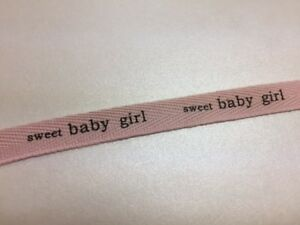 """""""Sweet Baby..."""" 1/2"""" cotton ribbon in pink and blue color 10yds"""