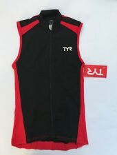 New Men's TYR - Red Black Cycling Jersey Front Zip Sleeveless - X Small TMSSJ6A