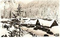 Postcard WA Washington Snoqualmie Pass Winter Summit Inn Ski Lodge Old Cars RPPC