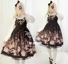 Vintage Japanese Lolita Sweet Rose Cross Print Gothic Sleeveless Dress Princess