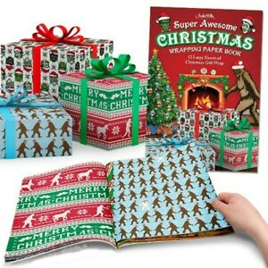 Accoutrements Christmas Wrapping Paper Book 12 Sheets Novelty Funny Holiday Gift