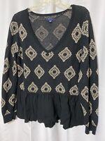 KAARI BLUE Long Sleeve Pullover Sweater Metallic Black Gold XLarge Ruffle Hem