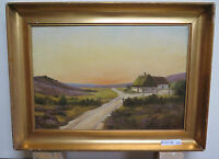 Landscape Nordic To Sunset Antique Painting oil Linen Denmark First 900 R93