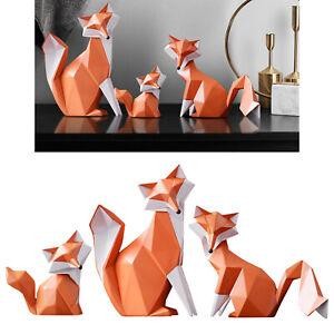 Resin Orange Fox Statue Animal Sculpt Art Sculpture Models Gifts for Kids