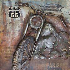 Metallbild in 3D-Optik Wandbild Gemälde handarbeit Motorrad Harley 100x100 cm