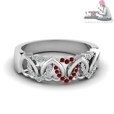 Heart Design Natural Ruby 14k Real White Gold Diamond Couple Band Ring FR1026KU