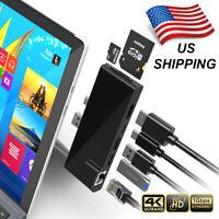 USB Type C 3.0 HUB Dock Splitter SD/TF 4K HDMI RJ45 Gigabit For Surface Pro 7