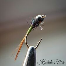 Black Hot Head Olive Nymph Size 16 (Set of 3) Fly Fishing Flies Grayling
