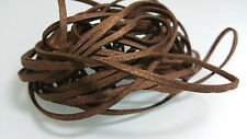5 YARDS - 15 FEET Metallic Brown Faux Suede Cord Leather Lace Ribbon Soft #31