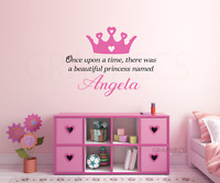 Princess Once Upon Personalized Name Wall Decal - Choose your Name and Colors!