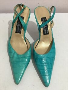RUSSELL & BROMLEY GENUINE LEATHER SANDALS SIZE 5 GREEN STILETTO SHOES (WQ