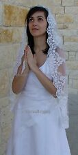 COMMUNION LACE VEIL MANTILLA IN FINGERTIP, FLOWERGIRL SPANISH BRIDAL VEIL