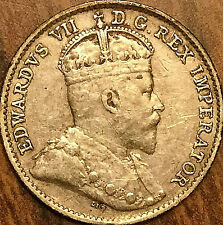 1910 CANADA SILVER 5 CENTS COIN - Round leaves - Excellent example!