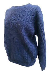 Viyella Ladies Pure 100% Wool Arran Cable Knit Jumper Size 44 Chest Navy Blue