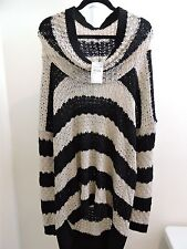14th Union Acrylic Woven Striped Camel and Black Cowl Neck Sweater Size - 1X