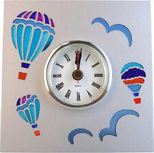72007 Silver Hot Air Balloon Metal Table Clock Sky Birds Colorful Summer Travel