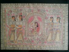 """Impressive antique Hindu rice paper/tapa cloth gouache painting 37"""" by 27"""""""